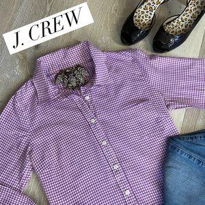 "J. CREW  ""The Perfect Shirt"" Purple/White Gingham"